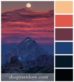 Antelao Dolomiti - moonrise over the mountains. Italy.