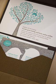 Letterpress tree & bird design with wood grain features