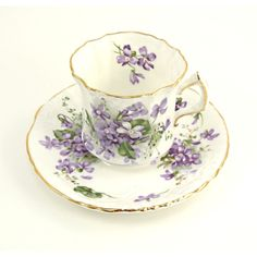 Vintage Hammersley Tea Cup and Saucer Victorian Violets Bone China England 1920s Purple Violet Spring Flowers Countryside found on Polyvore