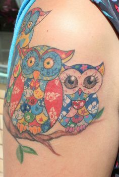 Patchwork owl tat- love the one on the right