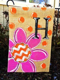 Items similar to Burlap Garden Flag Flower Pink and Orange Chevron Polka Dots with Mongram on Etsy Burlap Art, Burlap Flag, Burlap Signs, Burlap Crafts, Burlap Canvas, Cute Crafts, Crafts To Make, Arts And Crafts, Diy Crafts