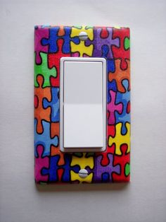 Autism Puzzle Pieces Rocker / GFI Switch Plate by PopGoesTheColor, $6.95