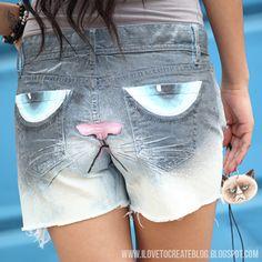 DIY Grumpy Cat Shorts Tutorial! :: Company.co.uk
