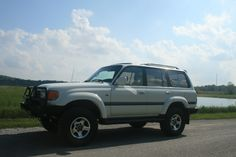 """1997 Toyota Land Cruiser 80 Series.  2"""" Old Man Emu Lift (Heavy front and rear) ARB Front bumper 10,500lbs MileMarker Hydraulic Winch 285/75/16 Cooper STMaxx tires"""