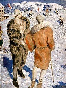 Vintage Travel poster Austria, Alfons Walde: Bizz mit Kitz Ski Season, Vintage Travel Posters, Impressionism, Figurative, Austria, Skiing, Modern Art, Paintings, Illustrations