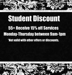 Attention all students:: come into @Danielle Robinson salon & spa in Minneapolis for a 10% discount with your student ID
