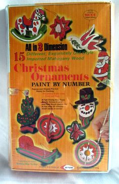 Paint By Number 15 Wood Christmas Ornaments Old Style Mahogany 3 Dimension NIP
