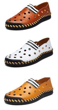 Men Hand Stitching Hollow Out Beach Sandals Breathable Casual Loafers Casual Loafers, Casual Shoes, Men Casual, Sock Shoes, Men's Shoes, Dress Shoes, Mens Fashion Shoes, Men's Fashion, Mens Designer Shoes