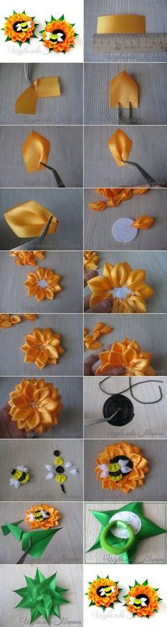Kanzashi Flower Tutorial By Meanwhilecr - Qoster Satin Ribbon Flowers, Cloth Flowers, Fabric Roses, Ribbon Art, Diy Ribbon, Ribbon Crafts, Flower Crafts, Silk Flowers, Paper Flowers