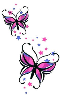 "Butterfly with Stars Large Temporary Body Art Tattoos 7"" x 4.5"""