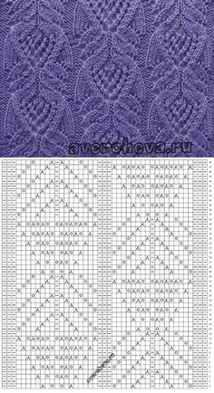 Pretty lace knitting pattern. Looks Japanese; they have these flowing curvy lines. ~~ КРАСИВЕННЫЙ УЗОР | Узоры спицами | Постила
