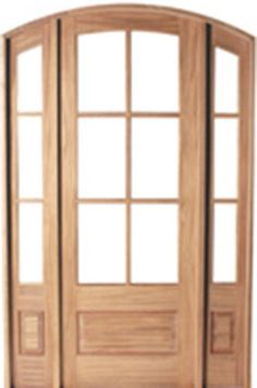 """door to compliment eyebrow dormer over entry. 8'0"""" Tall Preston 6-Lite Mahogany Arched Wood Door Unit with Sidelites"""