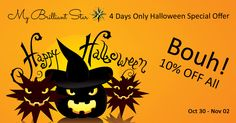Bouuuhhh - 4 Days Halloween Special Offer - 10% Off Halloween is coming soon. Don't be afraid to get a shining pumpkin. We are still shipping Original Herrnhut Stars, handmade in Germany. Order between Oct 30 and Nov 02 - share your order on Facebook or Twitter and get 10% off. #mybrilliantstar #herrnhutstars #moravianstars