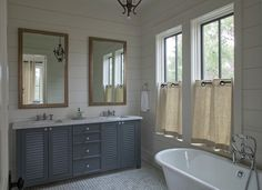 Ideas for bathrooms: vanity design, mirrors, window treatment, & horizontal ship lap boards on wall