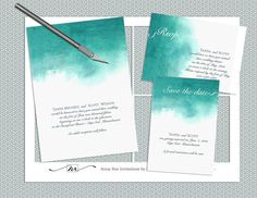 Watercolor Letterpress Wedding Invitation Weddings Diy Invitations And Design Pinterest