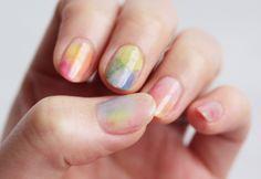 Sponge watercolor nails