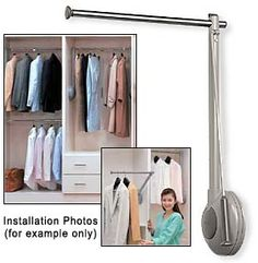 Sugatsune Tallman Single Closet Rod Lift Mechanism   Right Hand (Gray)