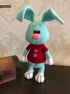 Crochet toy hare from Maria Lomkova Bunny Crochet, Easter Crochet Patterns, Crochet Doll Pattern, Crochet Patterns Amigurumi, Amigurumi Doll, Crochet Animals, Crochet Toys, Rabbit Toys, Bunny Toys