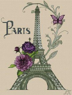 Париж. Вышивка крестиком.