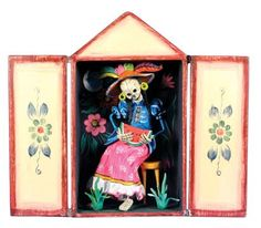 Skeleton Eating Watermelon Day of the Dead Retablo from Alternatives Global Marketplace