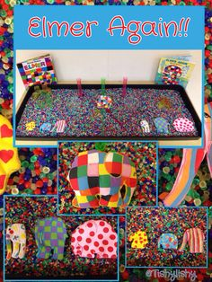 Colour/pattern Sensory tray - Elmer Again - could add shape tiles to rainbow rice/ rainbow pasta