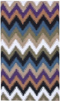 Zig Zag Wool Area Rug in Multicolor design by NuLoom