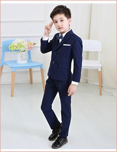 Kids Formal Party Wedding Dress Show Sets Boys Blazer Suits Waistcoat Trousers