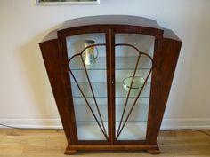 Art Deco Walnut Veneer Glass Display Cabinet