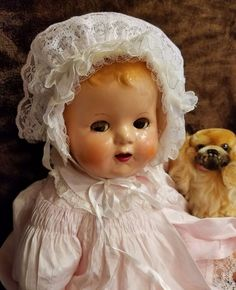 "Antique Vtg IDEAL Composition Mama Baby Doll 20"" HTF BABY BEAUTIFUL Flirty Eyes  