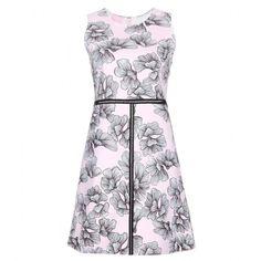 Giamba Printed Mini Dress ($340) ❤ liked on Polyvore featuring dresses, pink, white dress, short pink dress, giamba, short dresses and pink mini dress