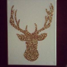 Glitter Deer silhouette on canvas DIY, followed this tutorial