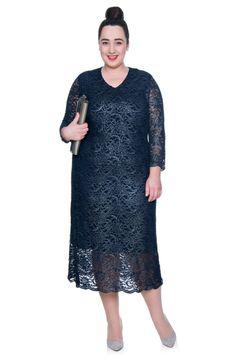 Długa granatowa sukienka z koronki - Modne Duże Rozmiary
