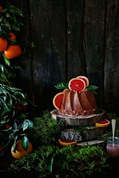 Spelt and orange bundt cake with red grapefruit glaze.