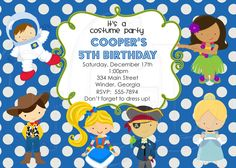 Costume Party Childrens Birthday Party Invitations by Jill Means at