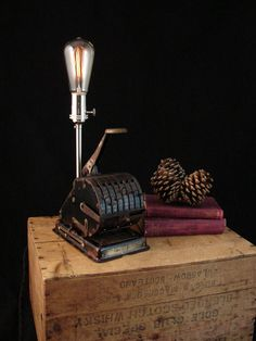 Table Lamp Upcycled Antique Paymaster by BenclifDesigns on Etsy, $195.00