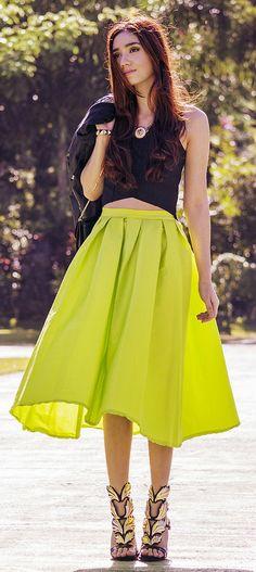 neon full skirt...like the shoes more than the skirt! :)