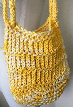 Market Bag Bright Yellow Loom Knit Tote by sparkleknit on Etsy