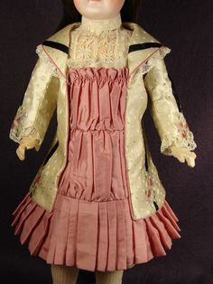 Antique printed silk French jacket style doll dress with pink taffeta plastron and knife pleated skirt by Carol H. Straus 2013. SOLD