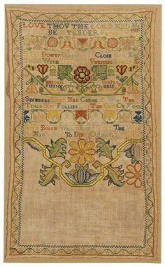 American Sampler ~ Abigail Pinniger ~ 1730 ~ Rhode Island ~ Linen plain weave with silk embroidery ~RISD Museum Embroidery Sampler, Learn Embroidery, Silk Ribbon Embroidery, Embroidery Stitches, Embroidery Patterns, Japanese Embroidery, Craft Patterns, Needlepoint, Needlework