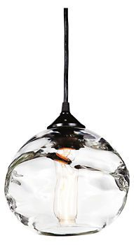 Hennepin Made Globe Pendant - Pendants - Lighting - Room & Board - this works well with the bubbled glass in your kitchen cabinets. Glass Pendant Light, Globe Pendant, Glass Pendants, Pendant Lighting, Kitchen Lighting, Home Lighting, Modern Lighting, Lighting Design, Overhead Lighting