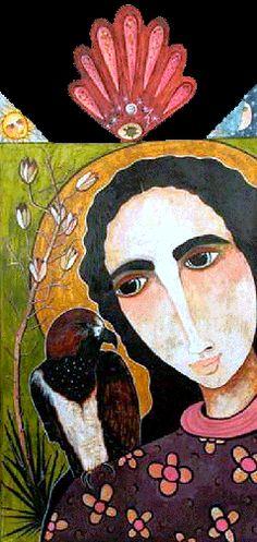 SOLD: Mary & the Hawk / Pigmented wood panel (retablo) by Virginia Maria Romero