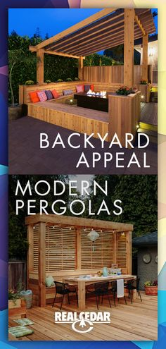 Modern Pergolas + Outdoor Seating Party in the back! Browse our gallery of durable, beautiful, modern pergolas! Create the outdoor living room of your dreams!
