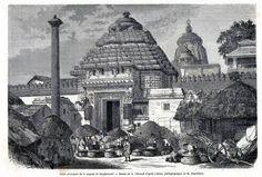 Antique print Puri Orissa India juggernaut / Jagannath gate pagoda 1869