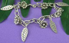 THAI KAREN HILL TRIBE 98% Handmade FLOWER LEAF Charm CUSTOM Bracelet  B055