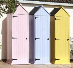 Small pastel storage sheds - n Need Of Shed Color Ideas?! British bunting on a garden shed. A beautiful shabby chic garden shed.