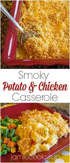 Smoky Potato and Chicken Casserole from Jamie Cooks It Up! Super easy to put together and loaded with tasty goodness, this simple casserole will have your family coming back for more.