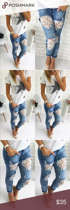 Hole Flower Pants Destroyed Ripped Jeans ! Hole Denim Flower Pants Boyfriend Jeans! Sexy and super comfortable! Medium should fit sizes 5-7🌟 Pants Ankle & Cropped