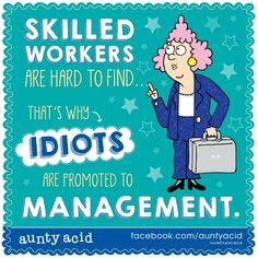 SKILLED WORKERS Are Hard To Find!!!! That's Why IDIOTS Are Promoted To MANAGEMENT!!!! Work Memes, Work Quotes, Work Humor, Cartoon Jokes, Funny Jokes, Cartoons, Swearing At Work, Aunt Acid, Australia Funny