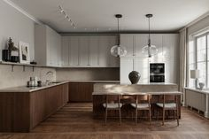 Another beautiful kitchen project done by Nordiska Kök, In a Stockholm apartment this time. Open Plan Kitchen, Kitchen Dining, Wooden Kitchen, Nordic Kitchen, Scandinavian Kitchen, Scandinavian Design, Kitchen Island, Home Interior, Kitchen Interior