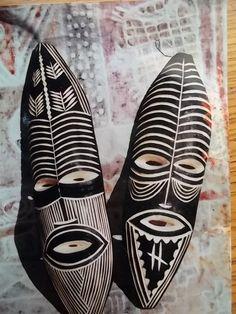 wooden tribal masks from Zimbabwe